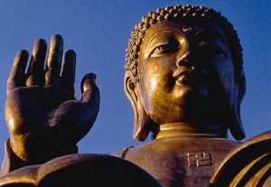 Buddha with swastika