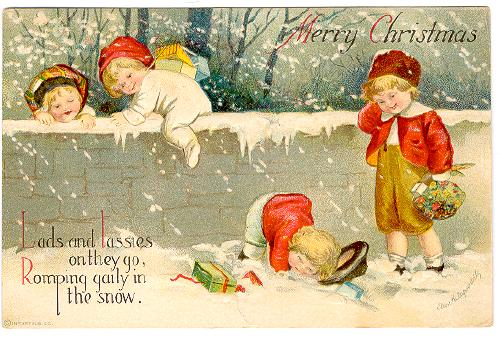 christmas-merry-christmas-children-playing-in-snow-signed-clapsaddle-500x338
