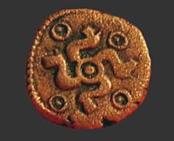 La Tene period Celtic Bronze coin.