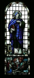 St Non stained glass window in St Non's Chapel, Dyfed.